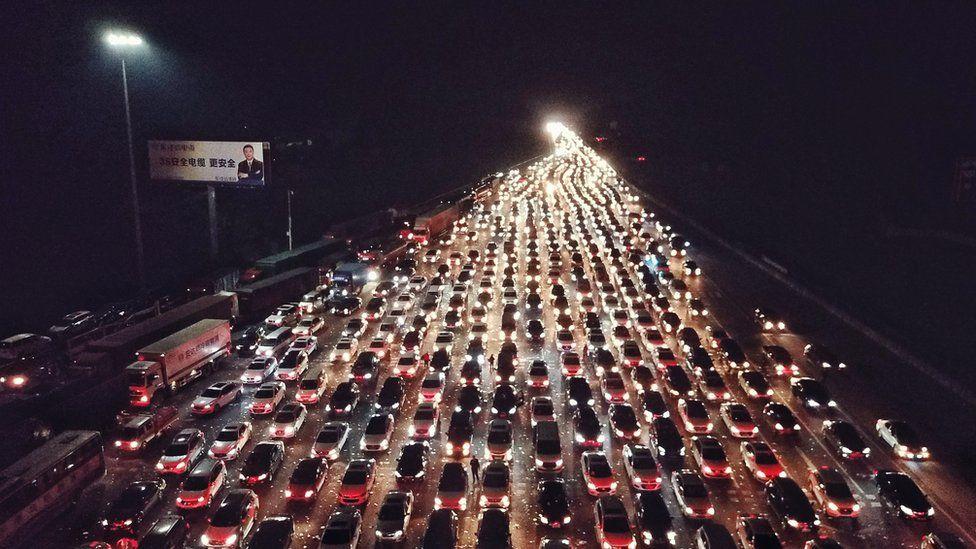пробки в Китае на Новый год